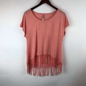 Wildflower coral fringe high low sleeveless top